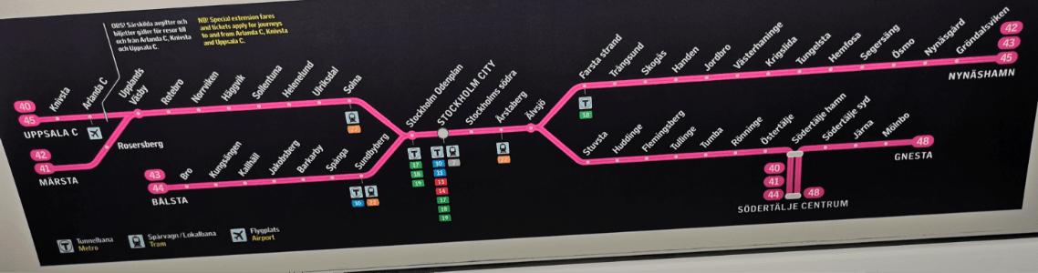 Pendeltag Karta For Stockholms Sl Trafik