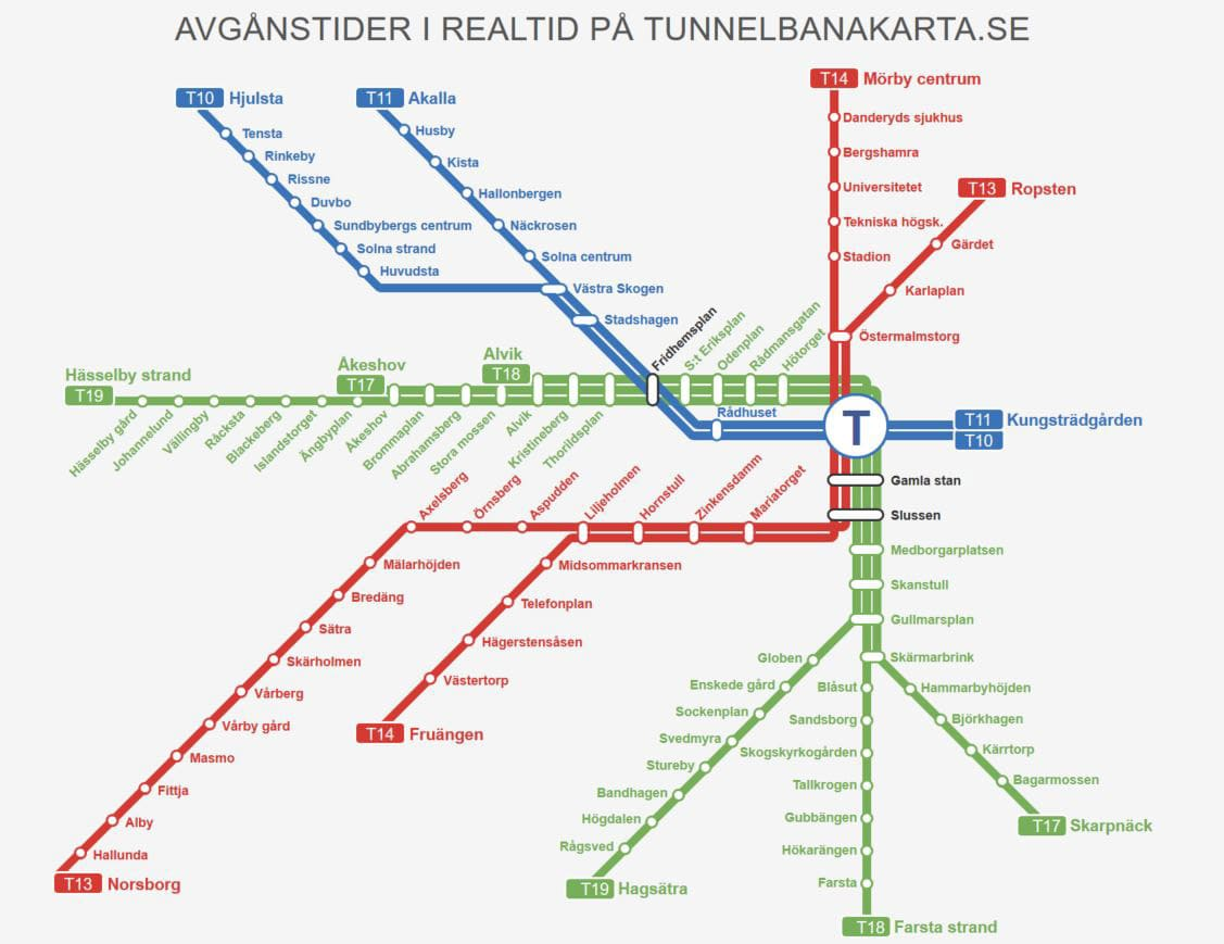 Line map with overview of Stockholm metro stations
