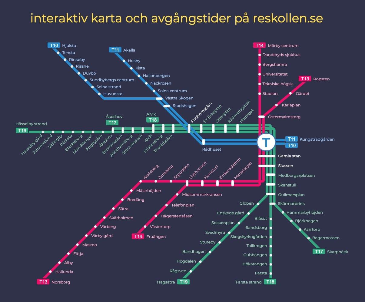 Tunnelbana Karta Tunnelbanan Stockholm